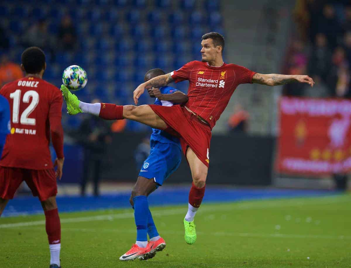 GENK, BELGIUM - Wednesday, October 23, 2019: Liverpool's Dejan Lovren during the UEFA Champions League Group E match between KRC Genk and Liverpool FC at the KRC Genk Arena. (Pic by David Rawcliffe/Propaganda)