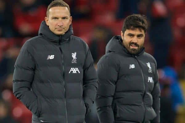 LIVERPOOL, ENGLAND - Wednesday, October 30, 2019: Liverpool's first-team development coach Pepijn Lijnders (L) and elite development coach Vitor Matos during the Football League Cup 4th Round match between Liverpool FC and Arsenal FC at Anfield. (Pic by David Rawcliffe/Propaganda)