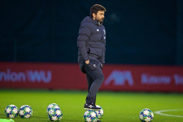 LIVERPOOL, ENGLAND - Monday, November 4, 2019: Liverpool's elite development coach Vitor Matos during a training session at Melwood Training Ground ahead of the UEFA Champions League Group E match between Liverpool FC and KRC Genk. (Pic by David Rawcliffe/Propaganda)