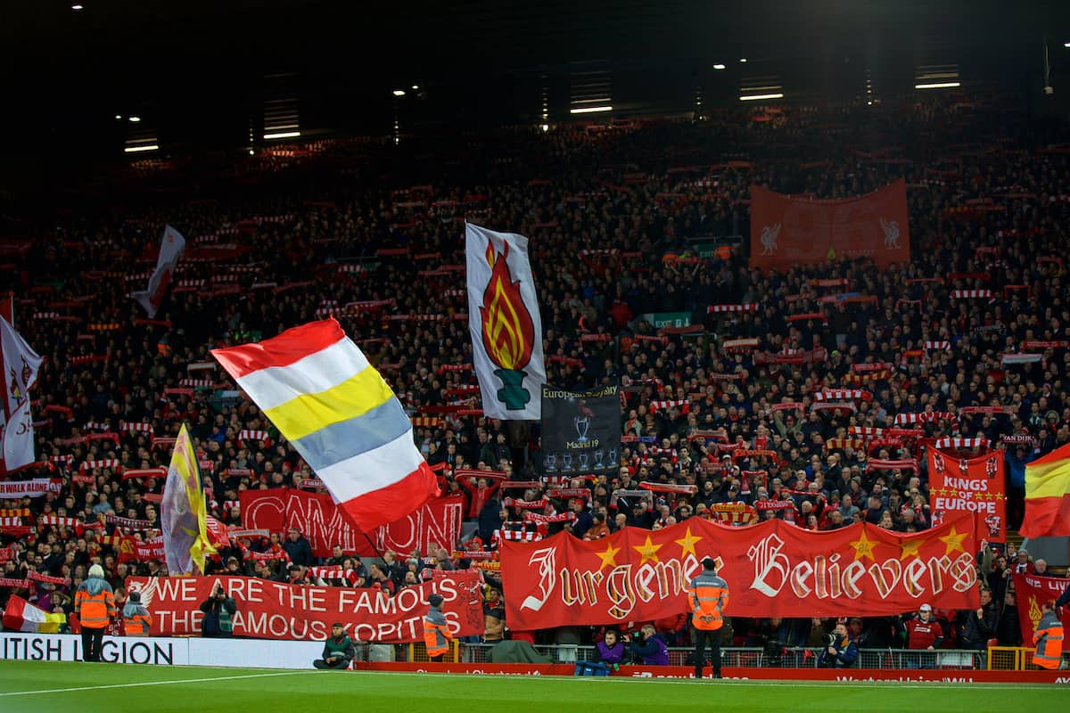 LIVERPOOL, ENGLAND - Sunday, November 10, 2019: Liverpool supporters on the Spion Kop wave their flags and banners before the FA Premier League match between Liverpool FC and Manchester City FC at Anfield. (Pic by David Rawcliffe/Propaganda)