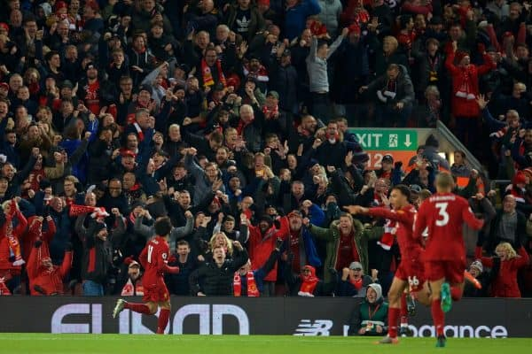 LIVERPOOL, ENGLAND - Sunday, November 10, 2019: Liverpool's Mohamed Salah celebrates scoring the second goal in front of supporters during the FA Premier League match between Liverpool FC and Manchester City FC at Anfield. (Pic by David Rawcliffe/Propaganda)