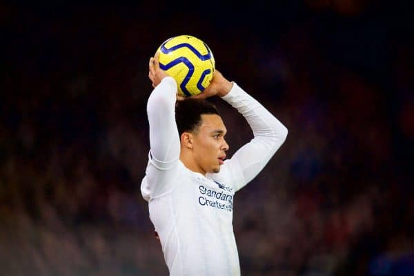 LONDON, ENGLAND - Saturday, November 23, 2019: Liverpool's Trent Alexander-Arnold takes a throw-in during the FA Premier League match between Crystal Palace and Liverpool FC at Selhurst Park. (Pic by David Rawcliffe/Propaganda)
