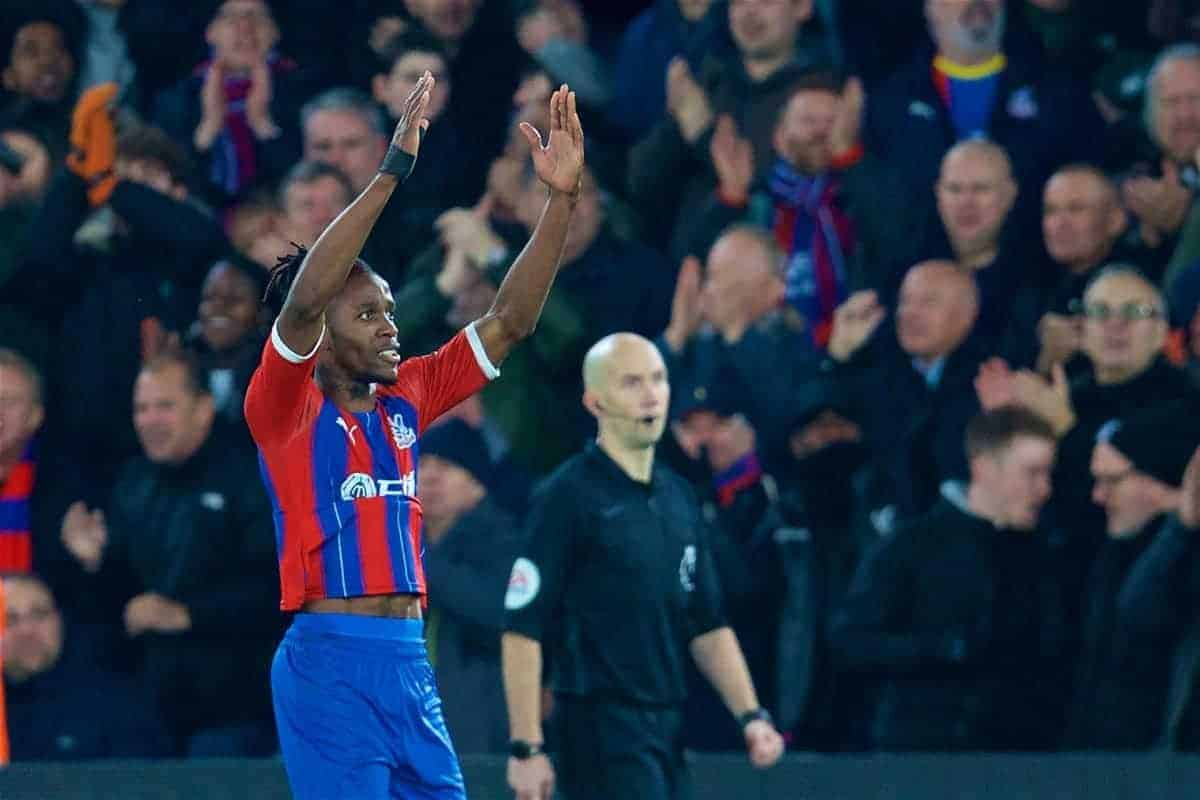 Crystal Palace's Wilfried Zaha celebrates scoring the first goal during the FA Premier League match between Crystal Palace and Liverpool FC at Selhurst Park. (Pic by David Rawcliffe/Propaganda)