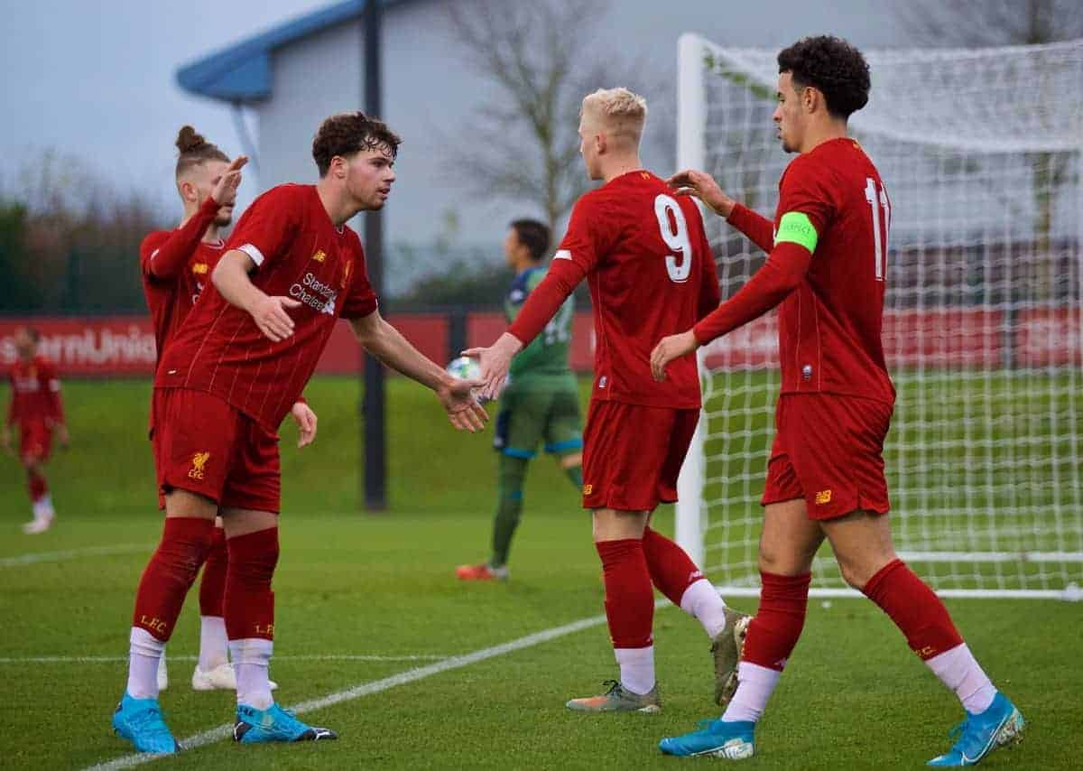 KIRKBY, ENGLAND - Wednesday, November 27, 2019: Liverpool's Luis Longstaff (C) celebrates scoring the fifth goal with team-mates Neco Williams (L) and captain Curtis Jones (R) during the UEFA Youth League Group E match between Liverpool FC Under-19's and SSC Napoli Under-19's at the Liverpool Academy. (Pic by David Rawcliffe/Propaganda)