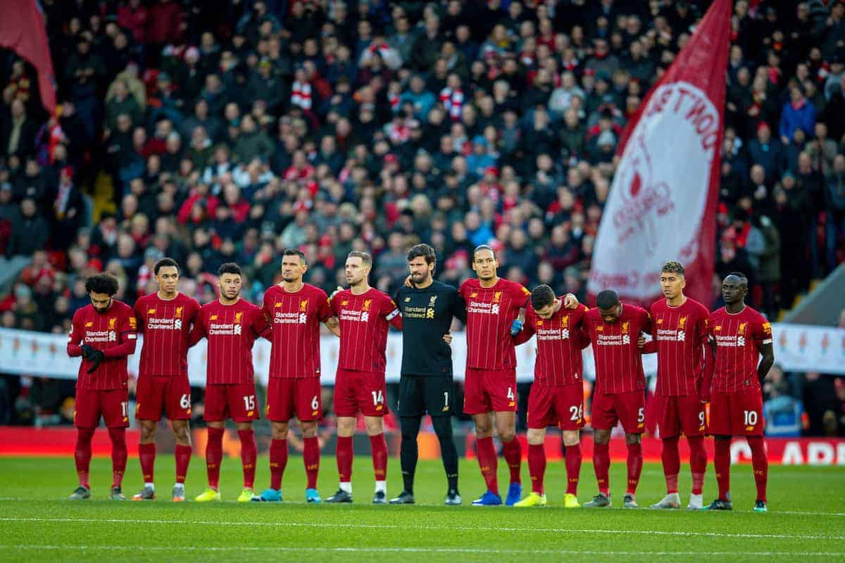 LIVERPOOL, ENGLAND - Saturday, November 30, 2019: Liverpool and Brighton & Hove Albion players and supporters stand for a moment's applause before the FA Premier League match between Liverpool FC and Brighton & Hove Albion FC at Anfield. (Pic by David Rawcliffe/Propaganda)