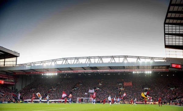 LIVERPOOL, ENGLAND - Saturday, November 30, 2019: Liverpool supporters on the Spion Kop with a banner remembering each of the 96 victims of the Hillsborough Stadium Disaster, just days after the Chief Inspector in charge at the time David Duckinfield was found not guilty of their manslauter, during the FA Premier League match between Liverpool FC and Brighton & Hove Albion FC at Anfield. (Pic by David Rawcliffe/Propaganda)