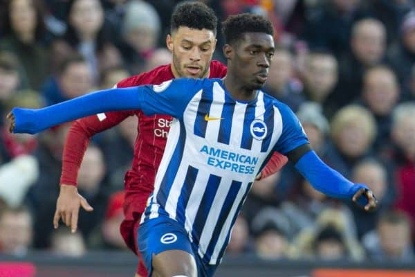 LIVERPOOL, ENGLAND - Saturday, November 30, 2019: Brighton & Hove Albion's Yves Bissouma during the FA Premier League match between Liverpool FC and Brighton & Hove Albion FC at Anfield. (Pic by David Rawcliffe/Propaganda)