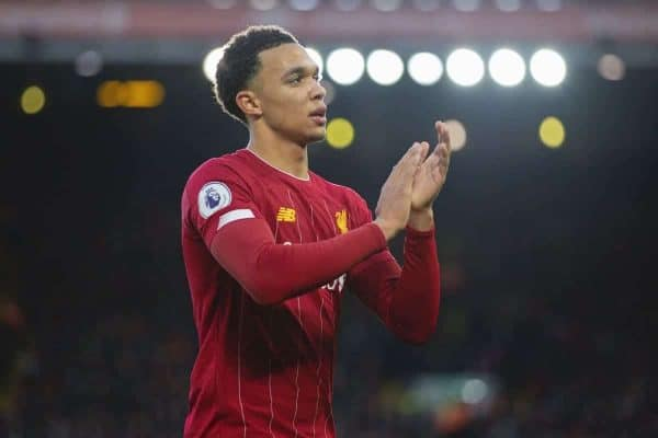 LIVERPOOL, ENGLAND - Saturday, November 30, 2019: Liverpool's Trent Alexander-Arnold applauds the supporters during the FA Premier League match between Liverpool FC and Brighton & Hove Albion FC at Anfield. (Pic by David Rawcliffe/Propaganda)