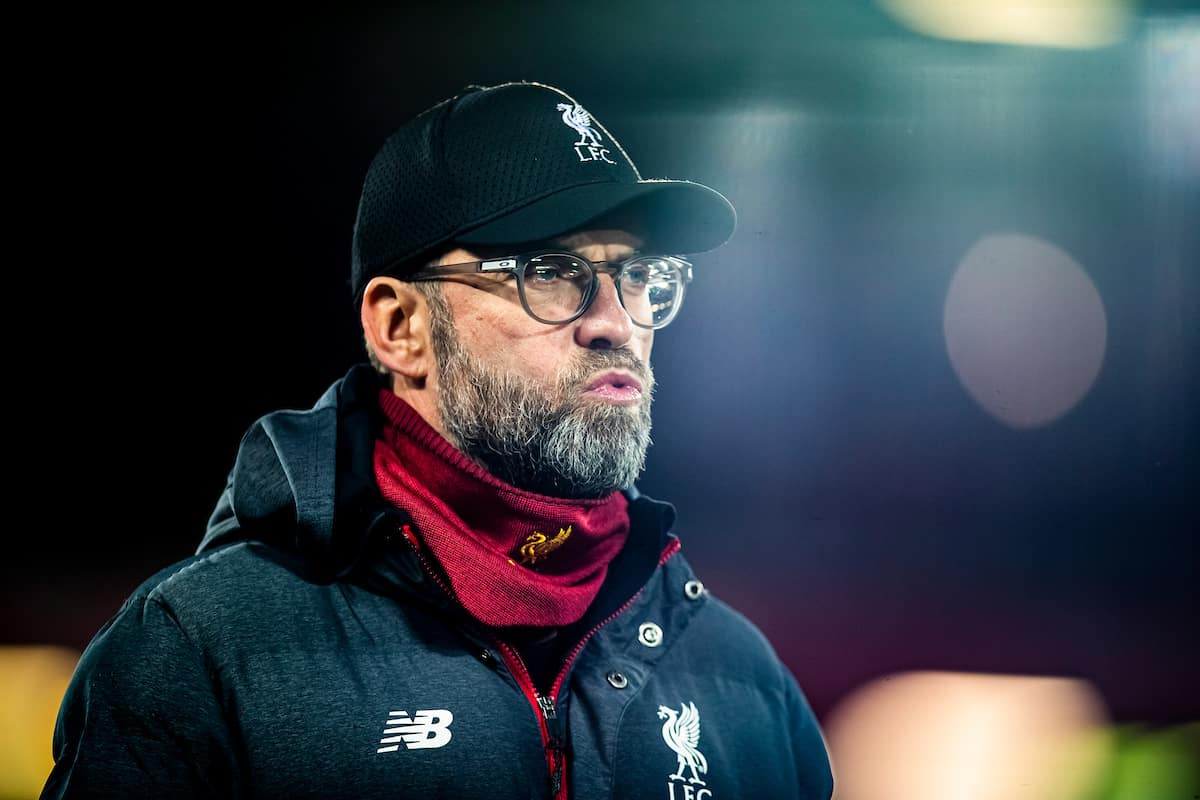 LIVERPOOL, ENGLAND - Wednesday, December 4, 2019: Liverpools manager Jürgen Klopp during the pre-match warm-up before the FA Premier League match between Liverpool FC and Everton FC, the 234th Merseyside Derby, at Anfield. (Pic by David Rawcliffe/Propaganda)