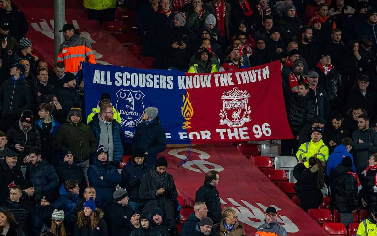 """A banner stretching between the Everton and Liverpool supporters """"All Scousers Know the Truth, Justice for the 96"""" before the FA Premier League match between Liverpool FC and Everton FC, the 234th Merseyside Derby, at Anfield. (Pic by David Rawcliffe/Propaganda)"""