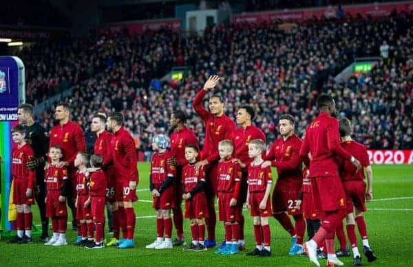LIVERPOOL, ENGLAND - Wednesday, December 4, 2019: Liverpool's Virgil van Dijk waves to supporters as the teams line-up before the FA Premier League match between Liverpool FC and Everton FC, the 234th Merseyside Derby, at Anfield. (Pic by David Rawcliffe/Propaganda)