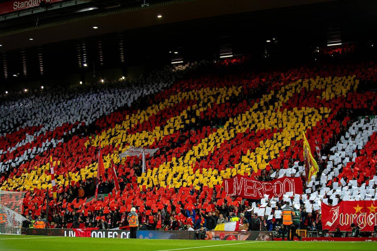 LIVERPOOL, ENGLAND - Wednesday, December 4, 2019: Liverpool supporters form a mosaic tribute to the 96 victims of the Hillsborough Stadium Disaster before the FA Premier League match between Liverpool FC and Everton FC, the 234th Merseyside Derby, at Anfield. (Pic by David Rawcliffe/Propaganda)
