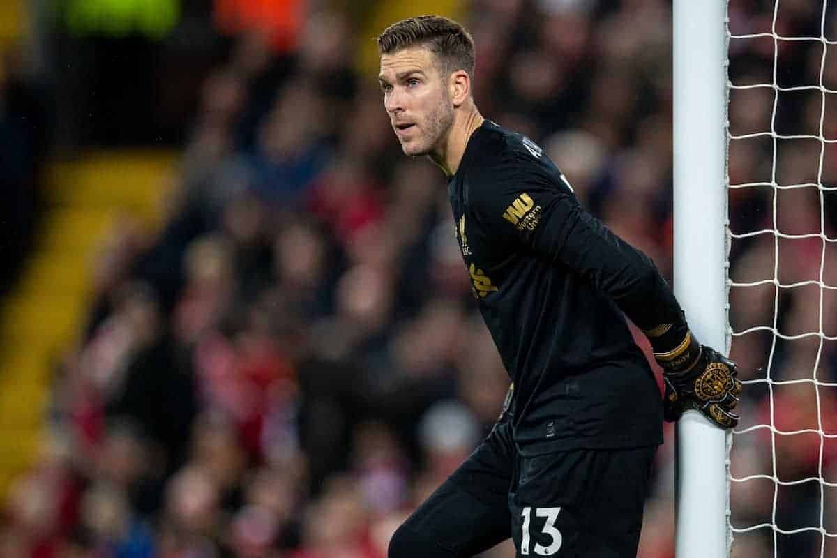 LIVERPOOL, ENGLAND - Wednesday, December 4, 2019: Liverpool's goalkeeper Adrián San Miguel del Castillo during the FA Premier League match between Liverpool FC and Everton FC, the 234th Merseyside Derby, at Anfield. (Pic by David Rawcliffe/Propaganda)