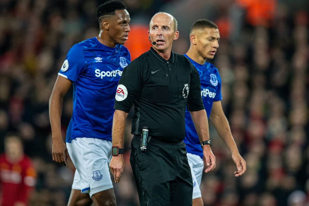 LIVERPOOL, ENGLAND - Wednesday, December 4, 2019: Referee Mike Dean during the FA Premier League match between Liverpool FC and Everton FC, the 234th Merseyside Derby, at Anfield. (Pic by David Rawcliffe/Propaganda)