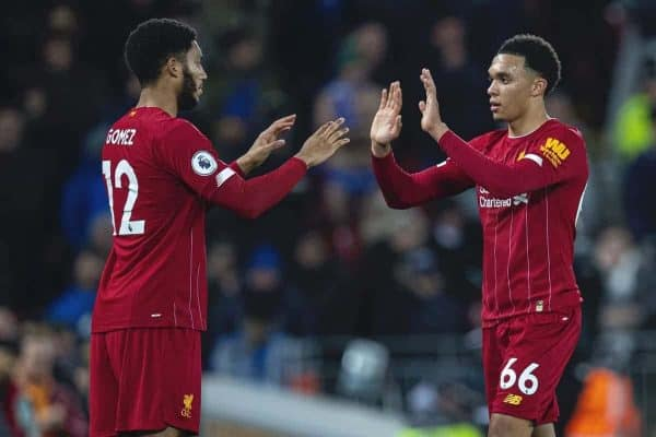 LIVERPOOL, ENGLAND - Wednesday, December 4, 2019: Liverpool's Trent Alexander-Arnold is replaced by substitute Joe Gomez during the FA Premier League match between Liverpool FC and Everton FC, the 234th Merseyside Derby, at Anfield. (Pic by David Rawcliffe/Propaganda)