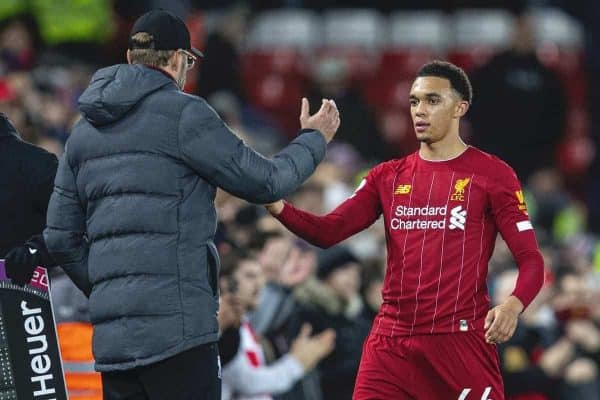 LIVERPOOL, ENGLAND - Wednesday, December 4, 2019: Liverpool's Trent Alexander-Arnold shakes hands with manager Jürgen Klopp as he is substituted during the FA Premier League match between Liverpool FC and Everton FC, the 234th Merseyside Derby, at Anfield. (Pic by David Rawcliffe/Propaganda)