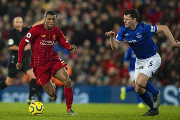 LIVERPOOL, ENGLAND - Wednesday, December 4, 2019: Liverpool's Georginio Wijnaldum gets away from Everton's Morgan Schneiderlin (L) and Michael Keane (R) during the FA Premier League match between Liverpool FC and Everton FC, the 234th Merseyside Derby, at Anfield. (Pic by David Rawcliffe/Propaganda)