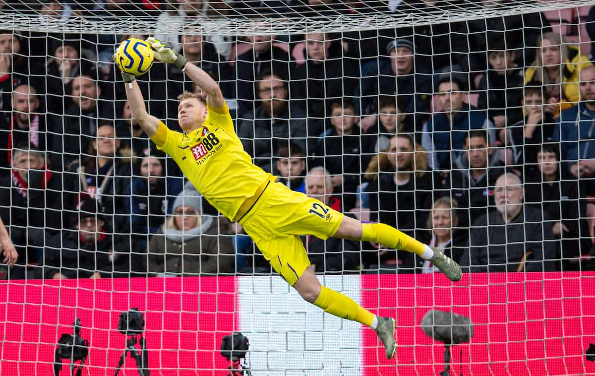 BOURNEMOUTH, ENGLAND - Saturday, December 7, 2019: AFC Bournemouth's goalkeeper Aaron Ramsdale makes a save during the FA Premier League match between AFC Bournemouth and Liverpool FC at the Vitality Stadium. (Pic by David Rawcliffe/Propaganda)