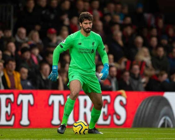 BOURNEMOUTH, ENGLAND - Saturday, December 7, 2019: Liverpool's goalkeeper Alisson Becker during the FA Premier League match between AFC Bournemouth and Liverpool FC at the Vitality Stadium. (Pic by David Rawcliffe/Propaganda)
