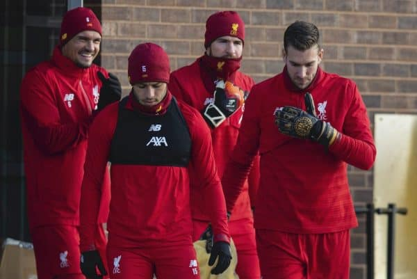 LIVERPOOL, ENGLAND - Monday, December 9, 2019: Liverpool's (L-R) Dejan Lovren, Alex Oxlade-Chamberlain, goalkeeper Adrián San Miguel del Castillo and goalkeeper Alisson Becker during a training session at Melwood Training Ground ahead of the UEFA Champions League Group E match between FC Salzburg and Liverpool FC. (Pic by David Rawcliffe/Propaganda)
