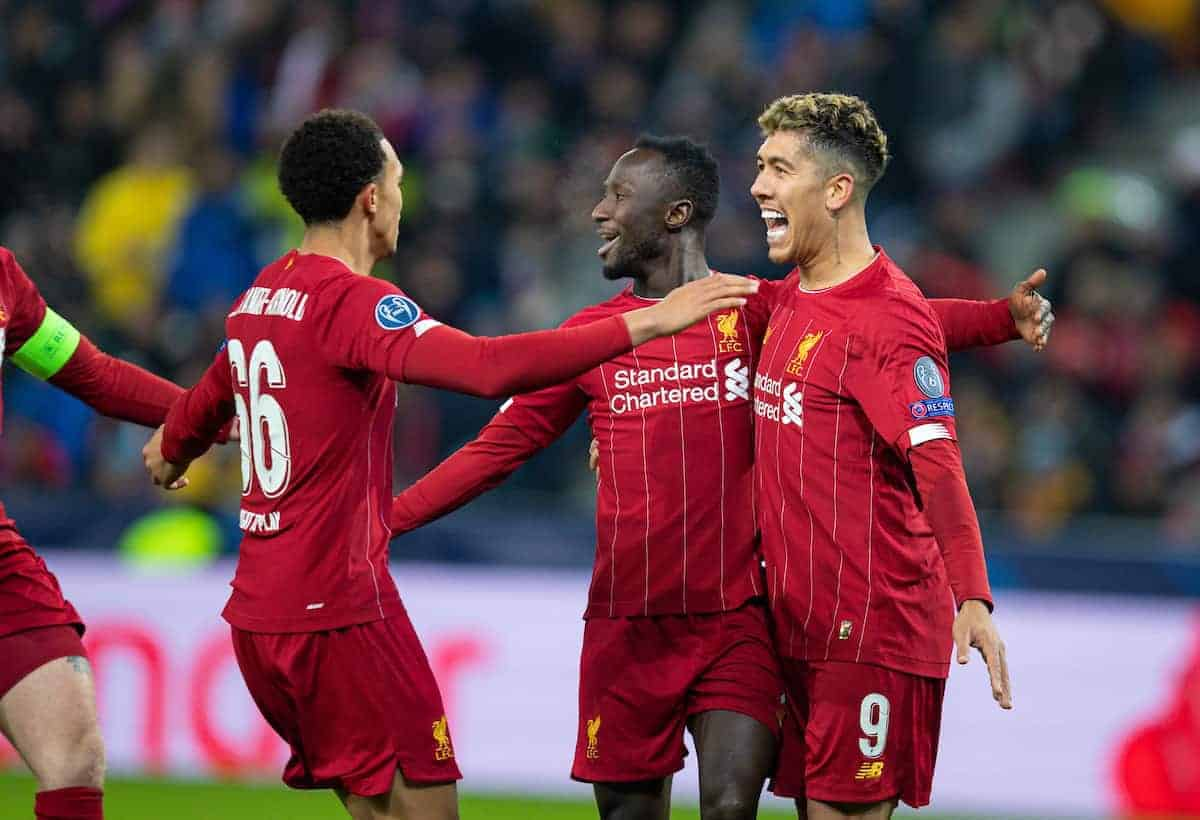 SALZBURG, AUSTRIA - Tuesday, December 10, 2019: Liverpool's Naby Keita (C) celebrates scoring the first goal with team-mates Trent Alexander-Arnold (L) and Roberto Firmino (R) during the final UEFA Champions League Group E match between FC Salzburg and Liverpool FC at the Red Bull Arena. (Pic by David Rawcliffe/Propaganda)