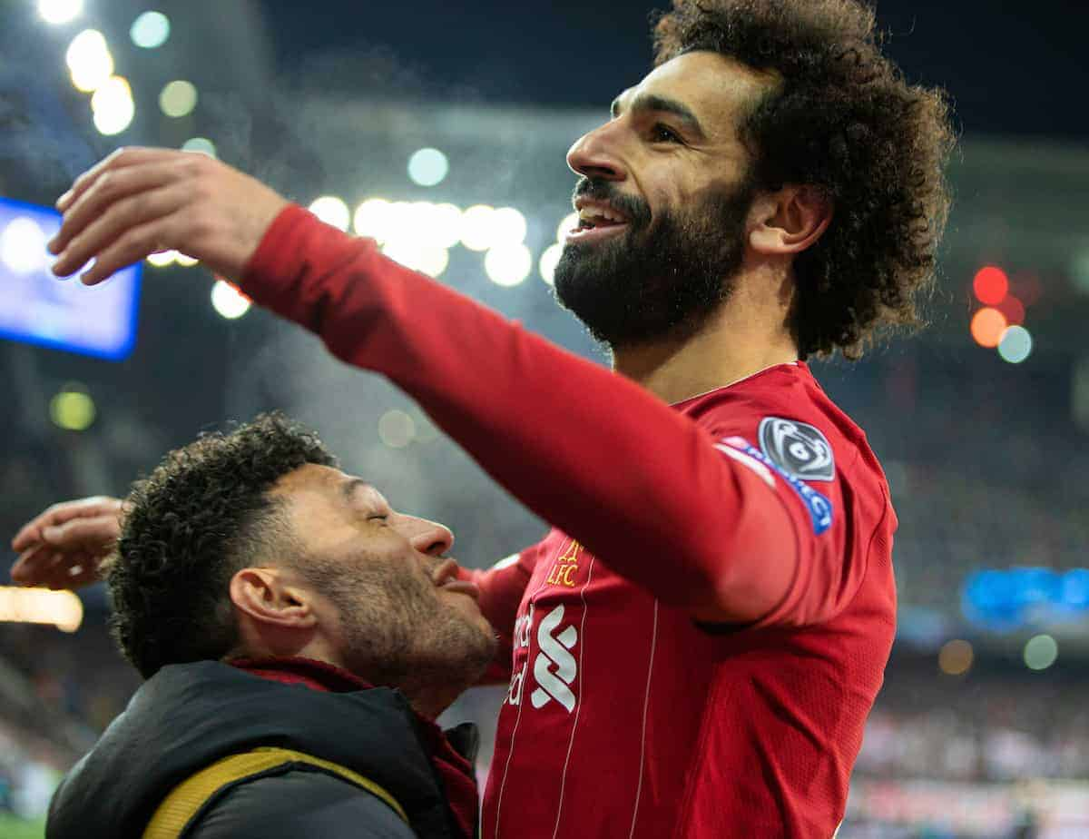 SALZBURG, AUSTRIA - Tuesday, December 10, 2019: Liverpool's Mohamed Salah celebrates scoring the second goal during the final UEFA Champions League Group E match between FC Salzburg and Liverpool FC at the Red Bull Arena. (Pic by David Rawcliffe/Propaganda)