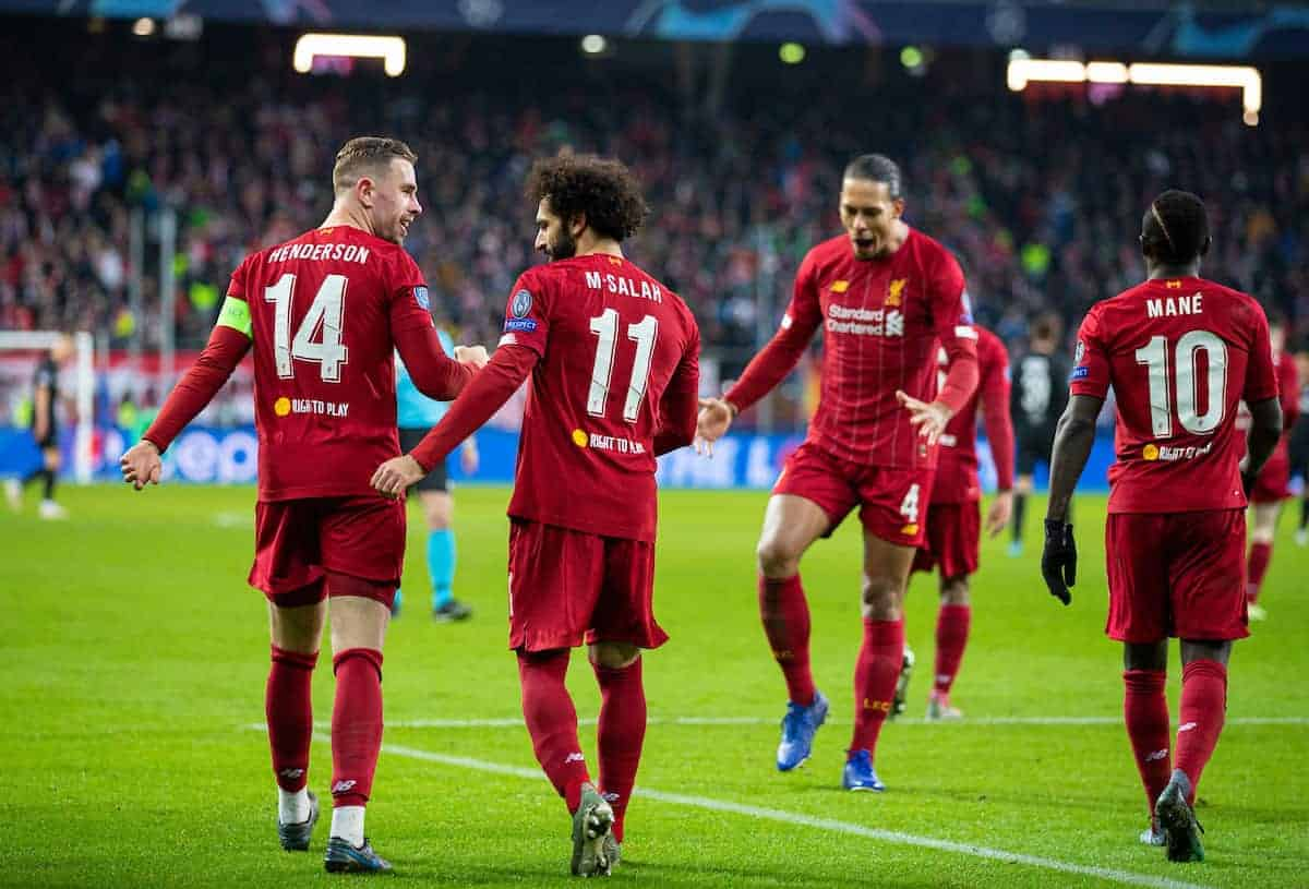 SALZBURG, AUSTRIA - Tuesday, December 10, 2019: Liverpool's Mohamed Salah (#11) celebrates scoring the second goal with team-mate captain Jordan Henderson during the final UEFA Champions League Group E match between FC Salzburg and Liverpool FC at the Red Bull Arena. (Pic by David Rawcliffe/Propaganda)