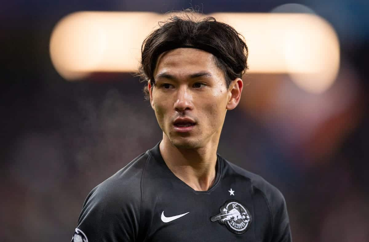 SALZBURG, AUSTRIA - Tuesday, December 10, 2019: FC Salzburg's Takumi Minamino during the final UEFA Champions League Group E match between FC Salzburg and Liverpool FC at the Red Bull Arena. (Pic by David Rawcliffe/Propaganda)