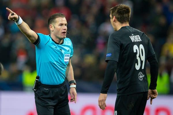 SALZBURG, AUSTRIA - Tuesday, December 10, 2019: Referee Danny Makkelie speaks with FC Salzburg's Maximilian Wöber during the final UEFA Champions League Group E match between FC Salzburg and Liverpool FC at the Red Bull Arena. (Pic by David Rawcliffe/Propaganda)