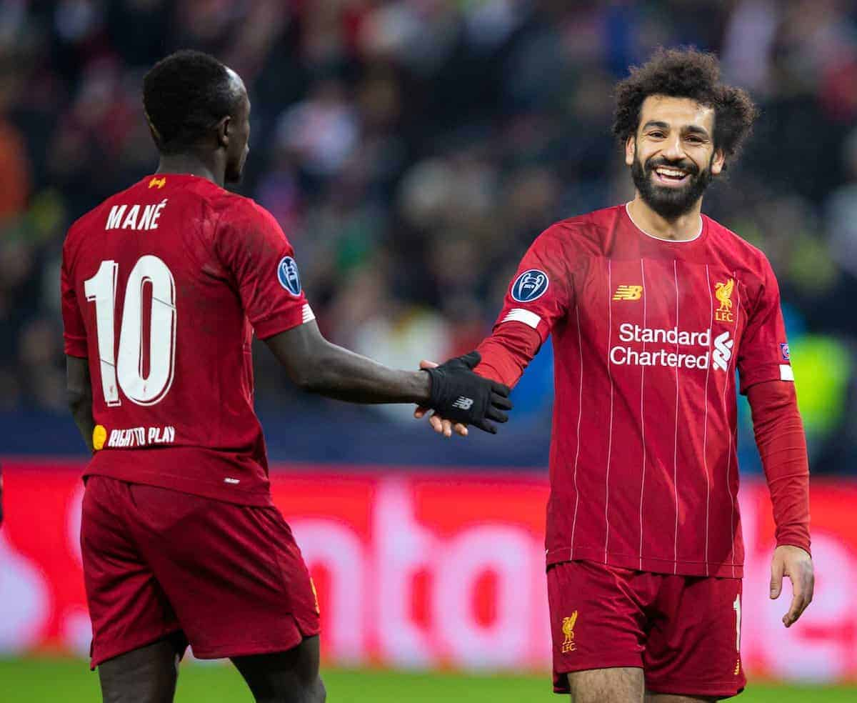 SALZBURG, AUSTRIA - Tuesday, December 10, 2019: Liverpool's Mohamed Salah is all smiles with Sadio Mané during the final UEFA Champions League Group E match between FC Salzburg and Liverpool FC at the Red Bull Arena. (Pic by David Rawcliffe/Propaganda)