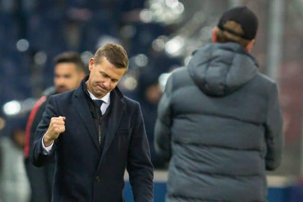 SALZBURG, AUSTRIA - Tuesday, December 10, 2019: FC Salzburg's head coach Jesse Marsch and manager Jürgen Klopp after the final UEFA Champions League Group E match between FC Salzburg and Liverpool FC at the Red Bull Arena. Liverpool won 2-0. (Pic by David Rawcliffe/Propaganda)