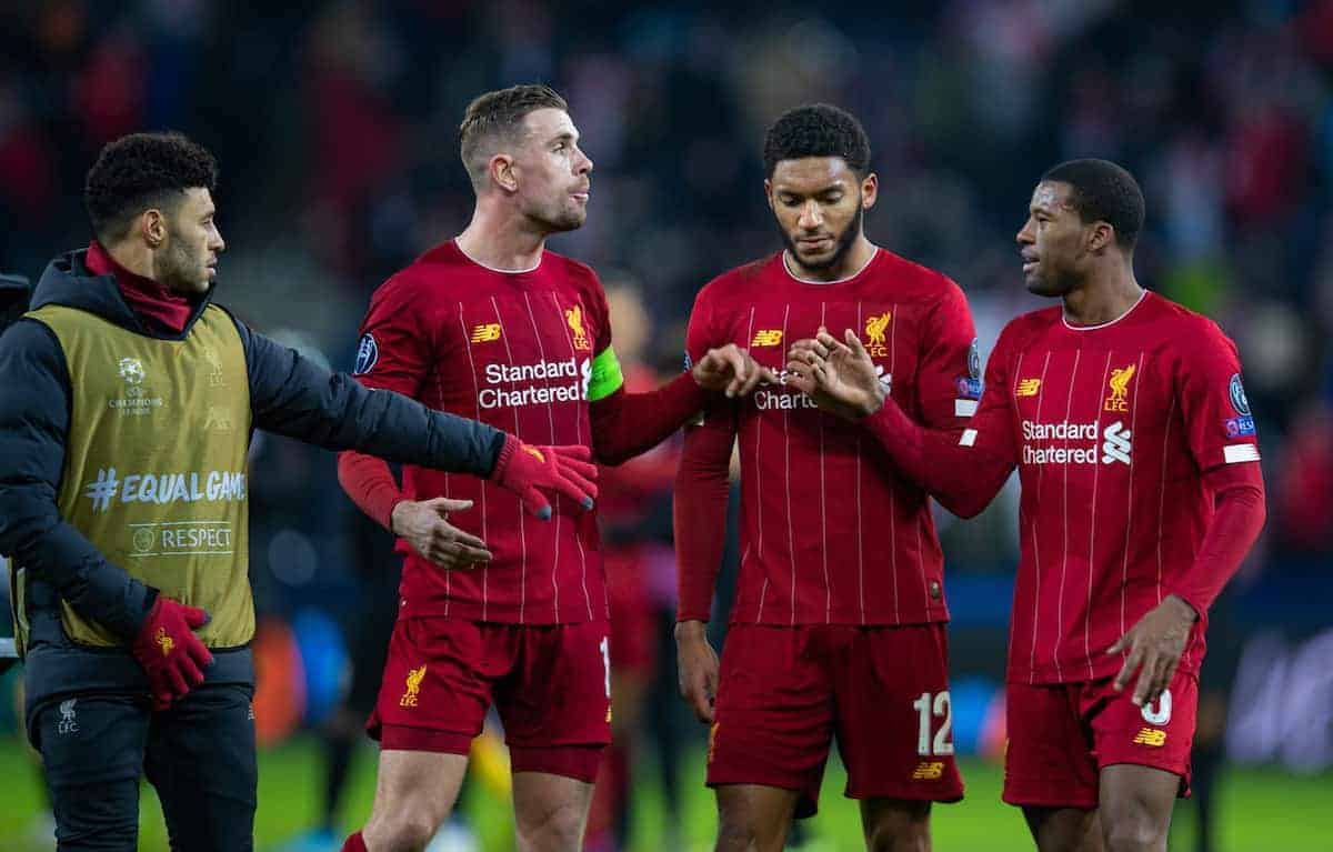 SALZBURG, AUSTRIA - Tuesday, December 10, 2019: Liverpool's Alex Oxlade-Chamberlain, captain Jordan Henderson, Joe Gomez and Georginio Wijnaldum after the final UEFA Champions League Group E match between FC Salzburg and Liverpool FC at the Red Bull Arena. Liverpool won 2-0. (Pic by David Rawcliffe/Propaganda)