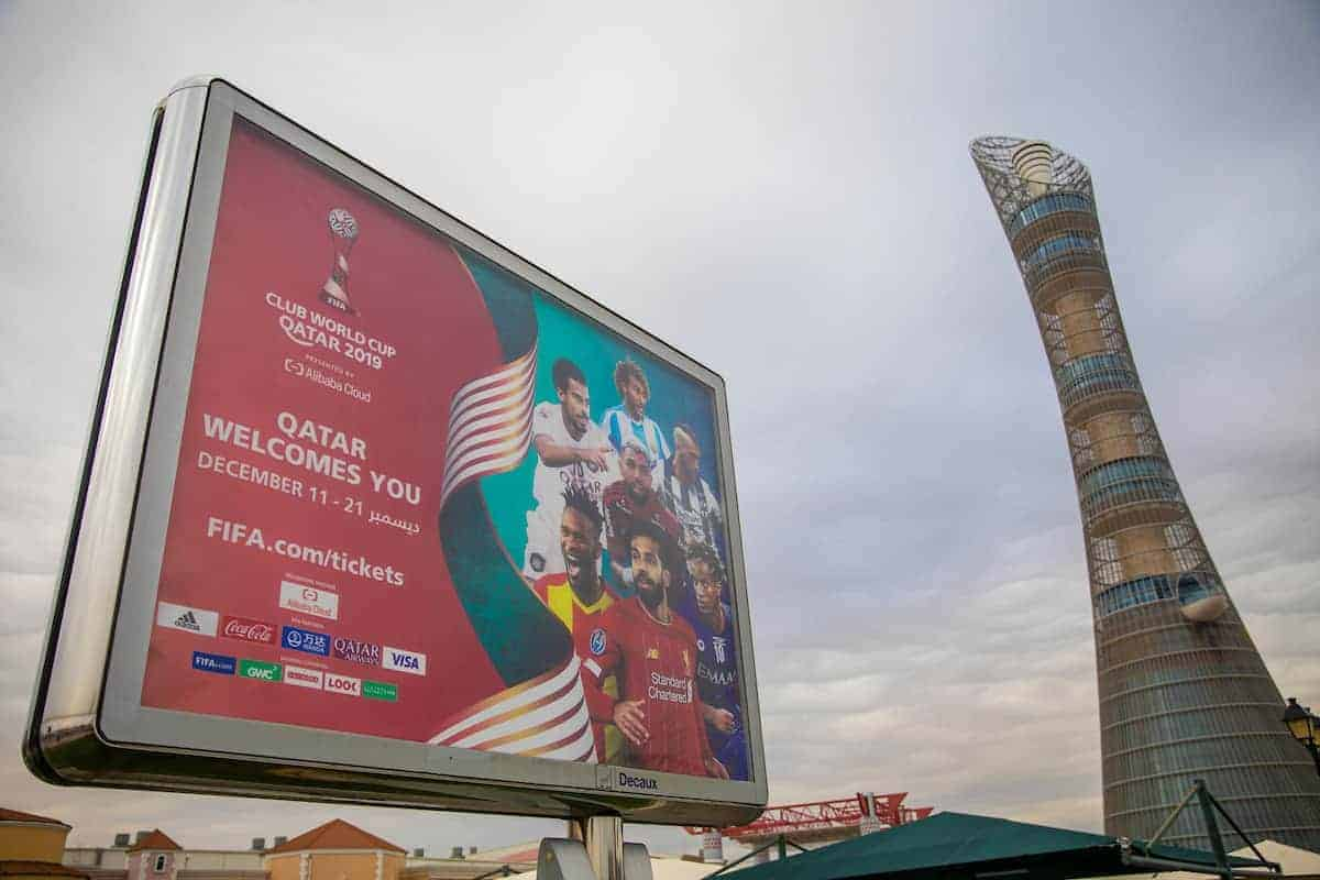 DOHA, QATAR - Friday, December 13, 2019: A billboard advertising the FIFA Club World Cup, featuring Liverpool's Mohamed Salah next to the Torch Doha Hotel in the Aspire Zone ahead of the FIFA Club World Cup Qatar 2019 in Doha. (Pic by David Rawcliffe/Propaganda)