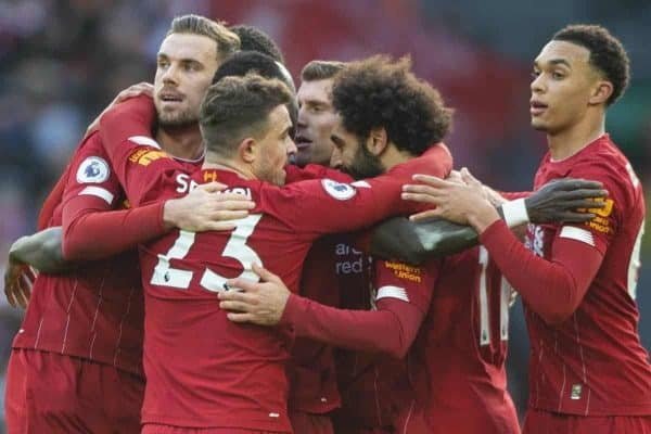 LIVERPOOL, ENGLAND - Saturday, December 14, 2019: Liverpool's Mohamed Salah (#11) celebrates scoring the first goal during the FA Premier League match between Liverpool FC and Watford FC at Anfield. (Pic by Richard Roberts/Propaganda)