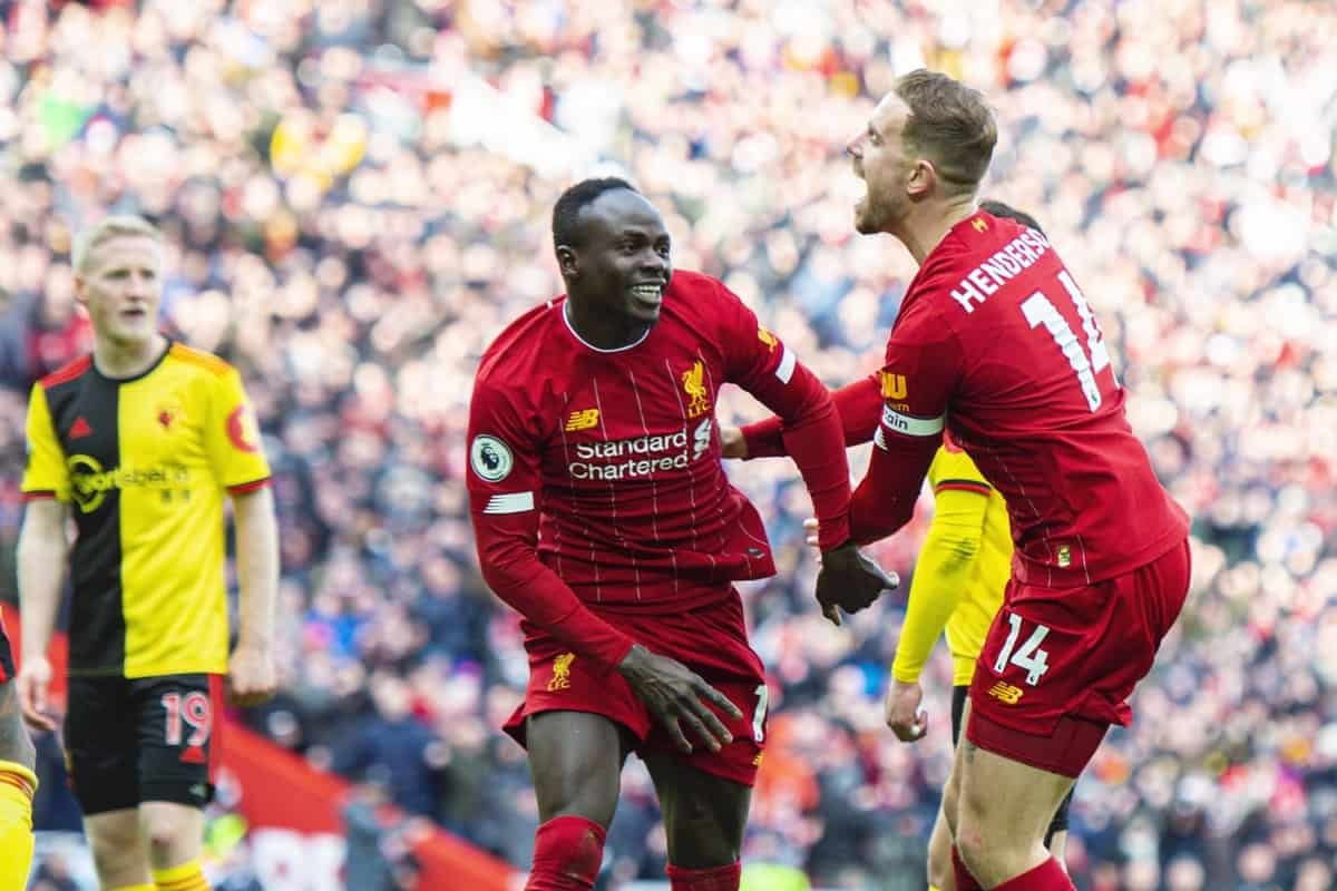 LIVERPOOL, ENGLAND - Saturday, December 14, 2019: Liverpool's Sadio Mané (L) celebrates scoring a goal with team-mate captain Jordan Henderson but it was disallowed during the FA Premier League match between Liverpool FC and Watford FC at Anfield. (Pic by Richard Roberts/Propaganda)