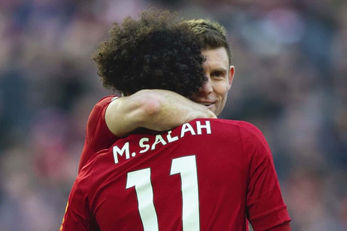 LIVERPOOL, ENGLAND - Saturday, December 14, 2019: Liverpool's Mohamed Salah celebrates scoring the second goal with team-mate James Milner during the FA Premier League match between Liverpool FC and Watford FC at Anfield. (Pic by Richard Roberts/Propaganda)