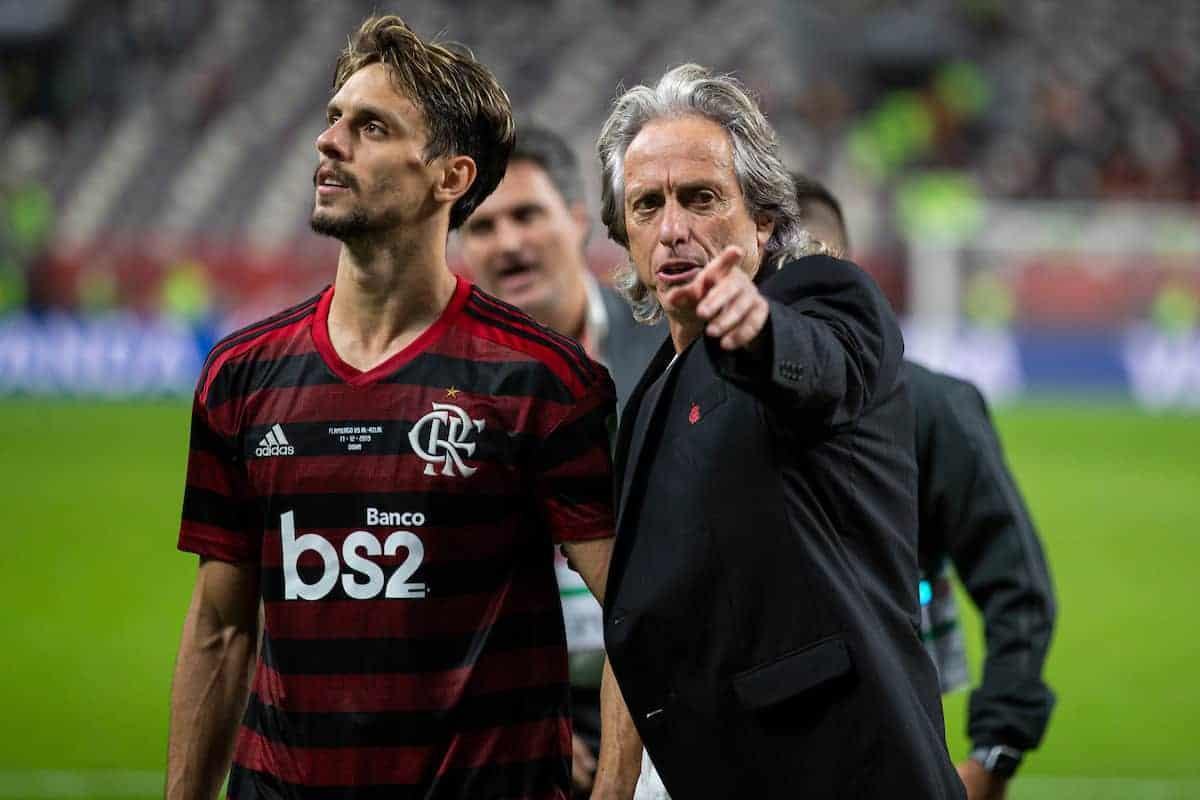 DOHA, QATAR - Tuesday, December 17, 2019: CR Flamengo's head coach Jorge Jesus celebrates after the FIFA Club World Cup Qatar 2019 Semi-Final match between CR Flamengo and Al Hilal FC at the Khalifa Stadium. CR Flamengo won 3-1. (Pic by David Rawcliffe/Propaganda)