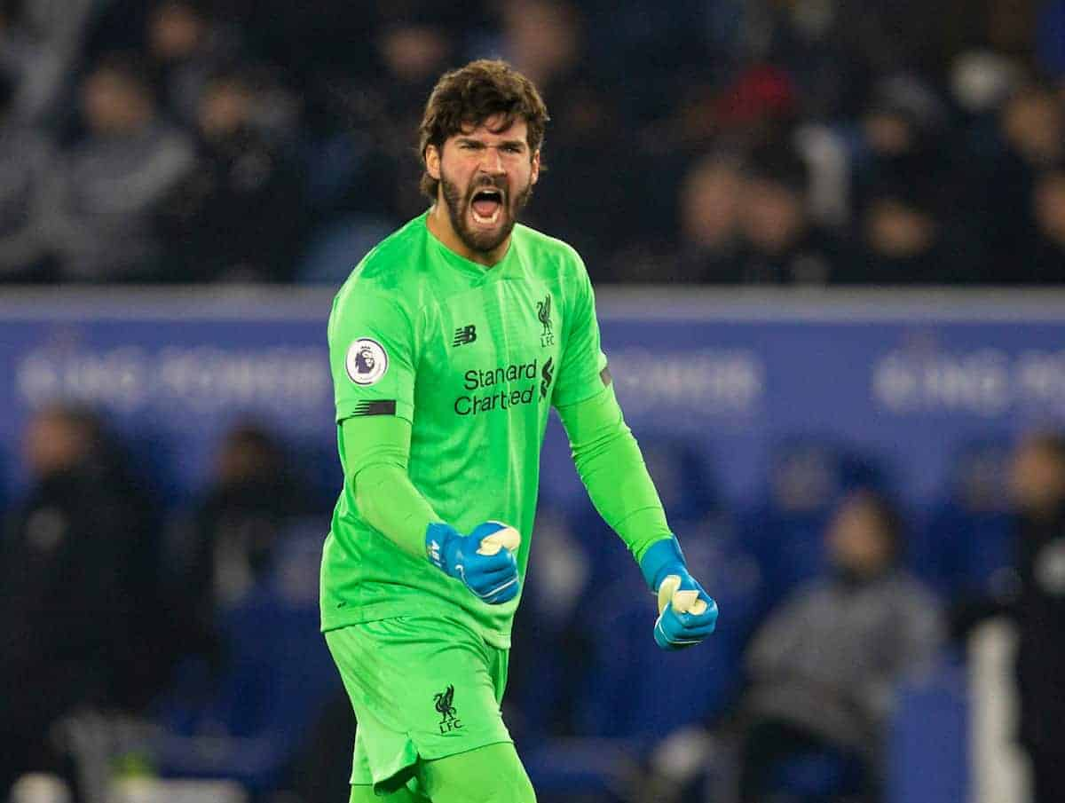 LEICESTER, ENGLAND - Thursday, December 26, 2019: Liverpool's goalkeeper Alisson Becker celebrates his side's first goal during the FA Premier League match between Leicester City FC and Liverpool FC at the King Power Stadium. (Pic by David Rawcliffe/Propaganda)