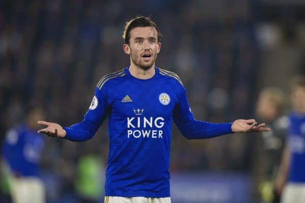 LEICESTER, ENGLAND - Thursday, December 26, 2019: Leicester City's Ben Chilwell complains to the assistant referee during the FA Premier League match between Leicester City FC and Liverpool FC at the King Power Stadium. (Pic by David Rawcliffe/Propaganda)