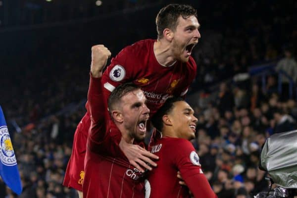 LEICESTER, ENGLAND - Thursday, December 26, 2019: Liverpool's Trent Alexander-Arnold (R) celebrates scoring the fourth goal with team-mates captain Jordan Henderson and Andy Robertson during the FA Premier League match between Leicester City FC and Liverpool FC at the King Power Stadium. Liverpool won 4-0. (Pic by David Rawcliffe/Propaganda)