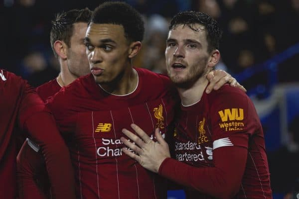 LEICESTER, ENGLAND - Thursday, December 26, 2019: Liverpool's Trent Alexander-Arnold celebrates scoring the fourth goal during the FA Premier League match between Leicester City FC and Liverpool FC at the King Power Stadium. Liverpool won 4-0. (Pic by David Rawcliffe/Propaganda)