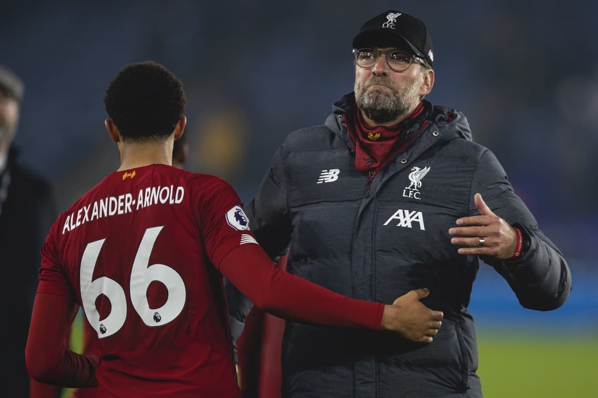 LEICESTER, ENGLAND - Thursday, December 26, 2019: Liverpool's manager Jürgen Klopp celebrates with Trent Alexander-Arnold after the FA Premier League match between Leicester City FC and Liverpool FC at the King Power Stadium. Liverpool won 4-0. (Pic by David Rawcliffe/Propaganda)