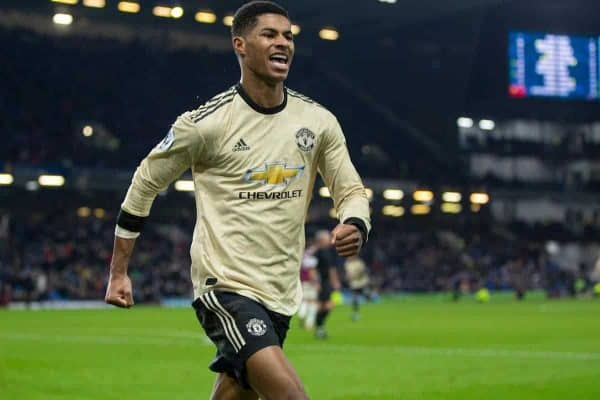 BURNLEY, ENGLAND - Saturday, December 28, 2019: Manchester United's Marcus Rashford celebrates scoring the second goal during the FA Premier League match between Burnley FC and Manchester United FC at Turf Moor. Manchester United won 2-0. (Pic by David Rawcliffe/Propaganda)