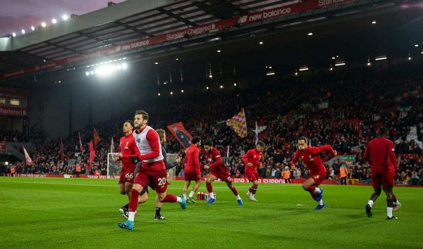 LIVERPOOL, ENGLAND - Sunday, December 29, 2019: Liverpool's Adam Lallana during the pre-match warm-up before the FA Premier League match between Liverpool FC and Wolverhampton Wanderers FC at Anfield. (Pic by David Rawcliffe/Propaganda)