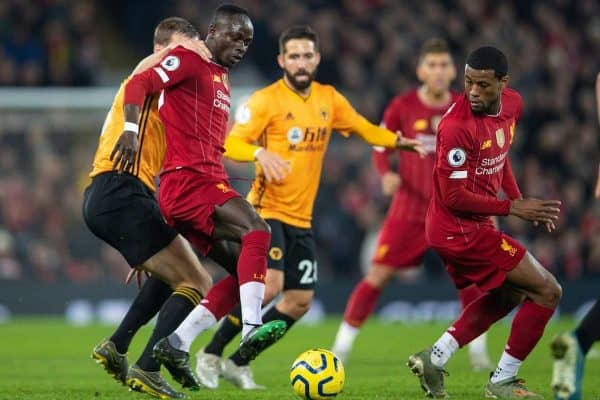 LIVERPOOL, ENGLAND - Sunday, December 29, 2019: Liverpool's Sadio Mané (L) and Georginio Wijnaldum during the FA Premier League match between Liverpool FC and Wolverhampton Wanderers FC at Anfield. (Pic by David Rawcliffe/Propaganda)