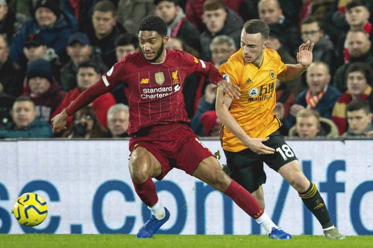 LIVERPOOL, ENGLAND - Sunday, December 29, 2019: Liverpool's Joe Gomez (L) and Wolverhampton Wanderers' Diogo Jota during the FA Premier League match between Liverpool FC and Wolverhampton Wanderers FC at Anfield. (Pic by David Rawcliffe/Propaganda)