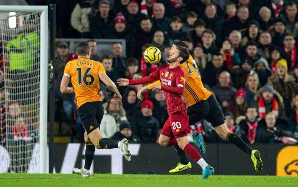 LIVERPOOL, ENGLAND - Sunday, December 29, 2019: Liverpool's Adam Lallana controls the ball before his side's opening goal during the FA Premier League match between Liverpool FC and Wolverhampton Wanderers FC at Anfield. (Pic by David Rawcliffe/Propaganda)