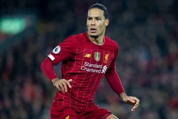 LIVERPOOL, ENGLAND - Sunday, December 29, 2019: Liverpool's Virgil van Dijk, wearing the gold FIFA Champions badge, during the FA Premier League match between Liverpool FC and Wolverhampton Wanderers FC at Anfield. (Pic by David Rawcliffe/Propaganda)