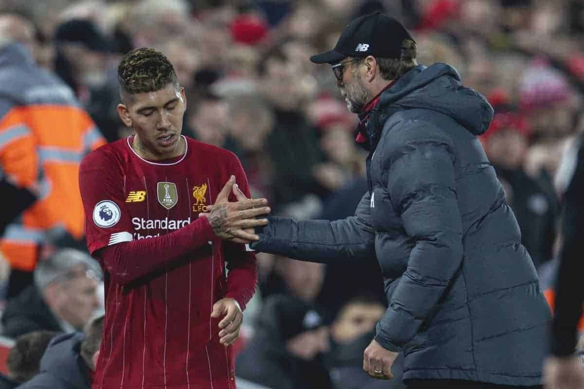 LIVERPOOL, ENGLAND - Sunday, December 29, 2019: Liverpool's Roberto Firmino and manager Jürgen Klopp shake hands during the FA Premier League match between Liverpool FC and Wolverhampton Wanderers FC at Anfield. (Pic by David Rawcliffe/Propaganda)