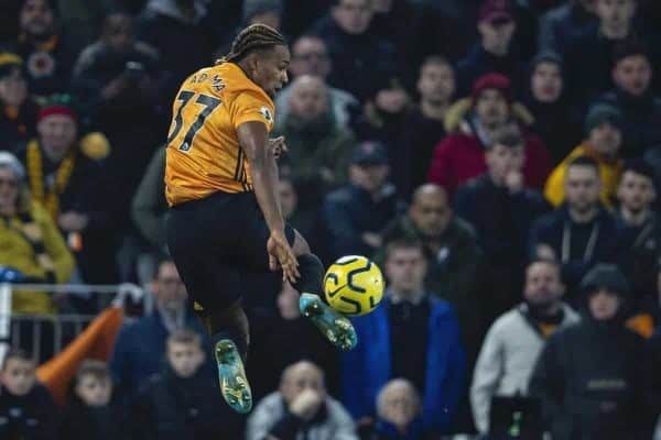 LIVERPOOL, ENGLAND - Sunday, December 29, 2019: Wolverhampton Wanderers' Adama Traoré during the FA Premier League match between Liverpool FC and Wolverhampton Wanderers FC at Anfield. (Pic by David Rawcliffe/Propaganda)